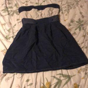 navy strapless dress